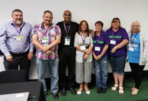 UNISON learning reps join chair of development and organisation committee Chris Tansley and assistant general secretary Roger McKenzie to highlight the value of learning (L-R Chris Tansley, NEC; Nigel Wass, Lincolnshire Police branch; Roger McKenzie, assistant general secretary; Carol McGrath, Leeds City branch; Jane Eyre and Bev Herring, Blackpool Health branch; Amanda Brown, Dorset County branch.) Photo by Davinder Sandhu