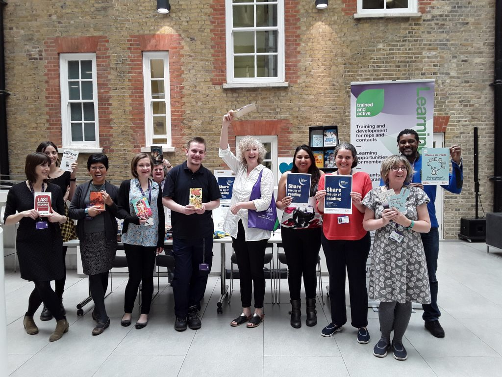 Members of UNISON learning and organising services and strategic organising unit staff promoting World Book Night
